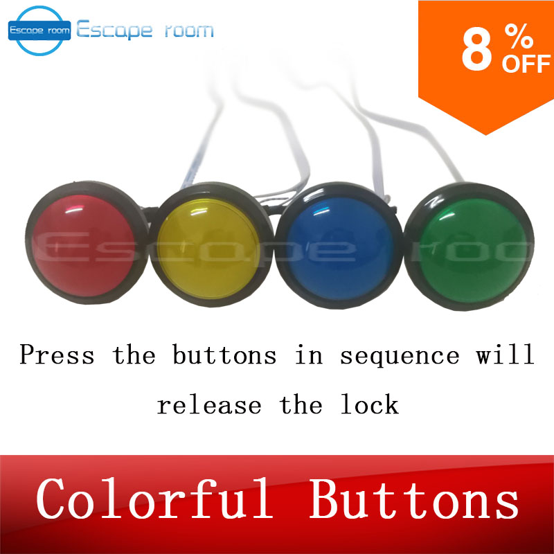 US $50 0 |escape room game adventurer prop colorful button prop press four  magic color buttons in right order to run out secret room-in Party DIY