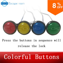 escape room game adventurer prop colorful button prop press four magic color buttons in right order to run out secret room room escape game prop popular morse code prop button version input right password pattern via button to unlock get out chamber