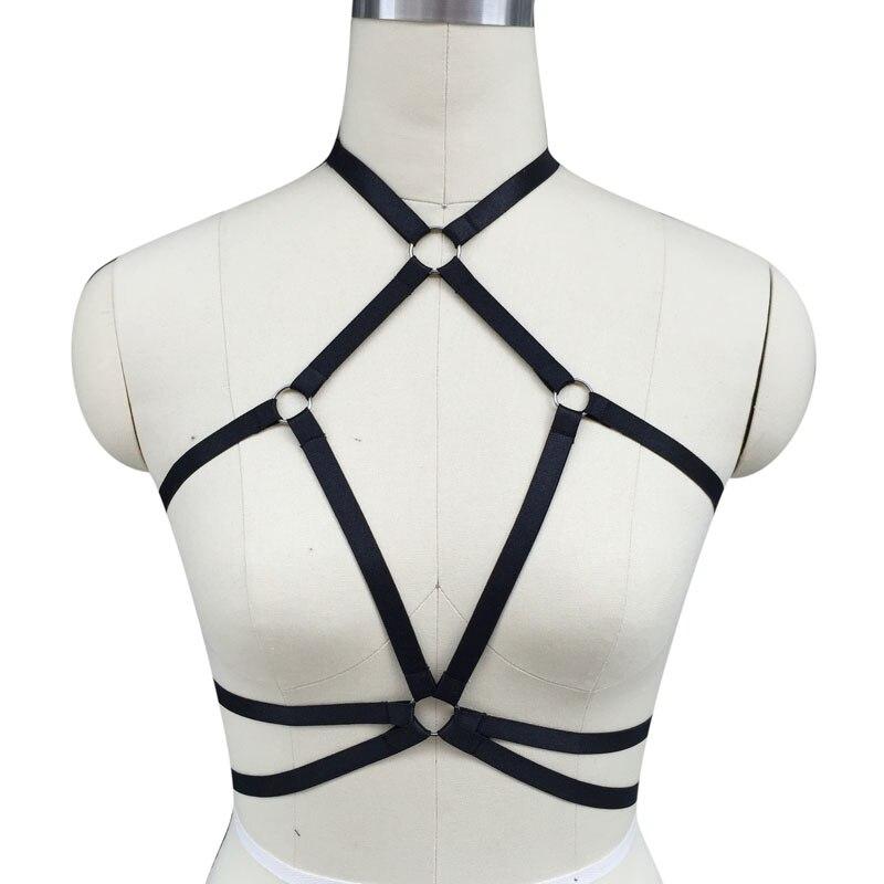 Buy Cage Bondagebra Inspired/Crop Top Harness Cage Bra/Black Elastic lingerie Gothic Fetish Dress/Body Harness/Women Clup Rave waer