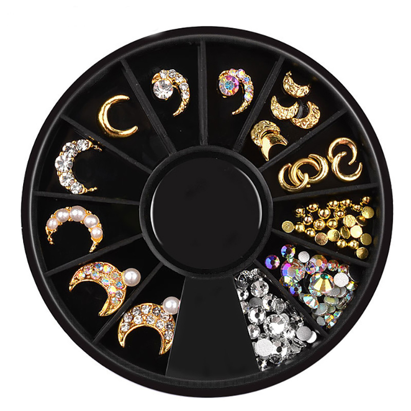 1 Wheel Gold Moon Star 3d Alloy Nail Art Decoration Mixed AB Crystal Rhinestones Jewelry Metal Studs Manicure Accessories in Rhinestones Decorations from Beauty Health