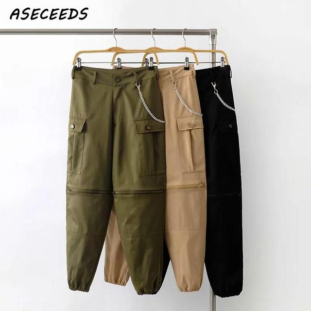 26259a89 Autumn Fashion chain pants women Army black loose Cargo Pants Street zipper  cotton high waist pants Casual Trousers sweatpants