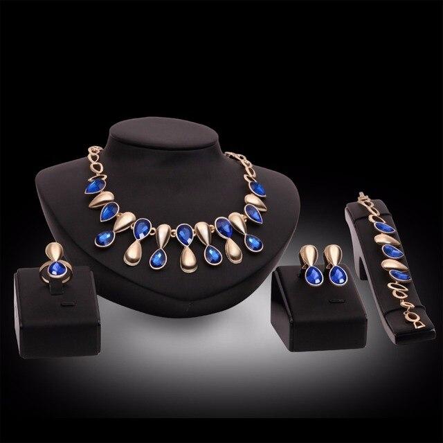Mới thời trang cưới Tím Blue Crystal trang sức set cô dâu phù dâu hoặc prom vàng màu necklace earring set phụ nữ