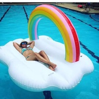240cm Giant Inflatable Colorful clouds Pool Float Ride On Flamingo Swimming Ring Adult Children Water Holiday Party Toy Piscina