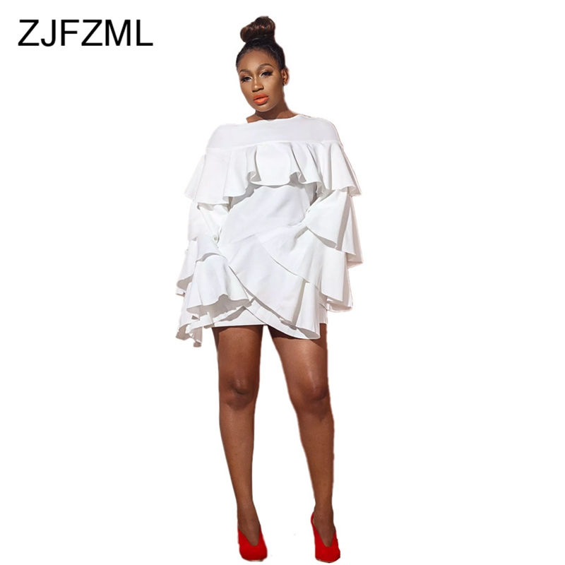 Solid Color Ruffles Sexy Loose Causal Dress Women Long Flare Sleeve O Neck Elegant Dresses Party Club Winter Mini Robe Femme