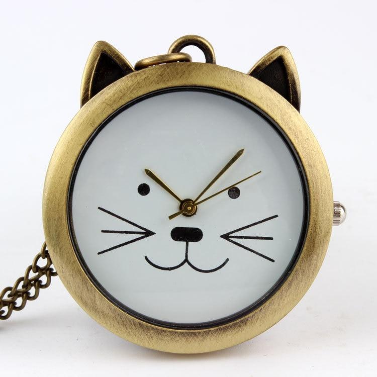 2014 Einzigartige Stil, Die Alte Weisen Bronze Schöne Katze Einfache Mode Taschenuhr Mädchen Und Frauen Lieblings Halskette Tisch Produkte Werden Ohne EinschräNkungen Verkauft