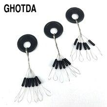 GHOTDA, 20 комплектов, 120 шт., поплавок для рыбалки, черный резиновый проблесковый ограничитель
