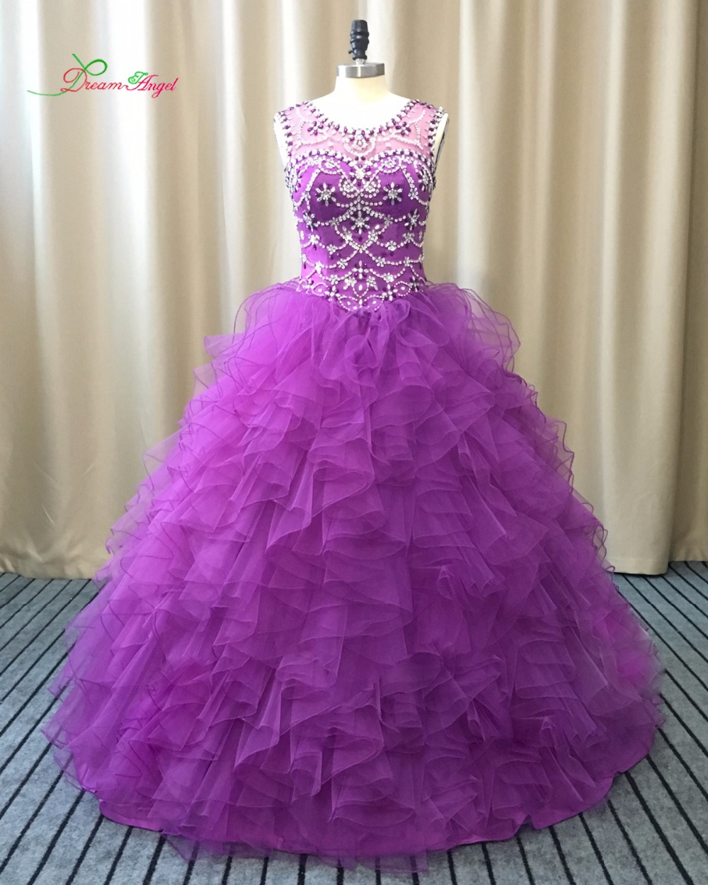 Dream Angel Scoop Neck Purple Ball Gown Ruffles Quinceanera Dress 2017 Beaded Sequined Debutante Dress For 15 Years Plus Size