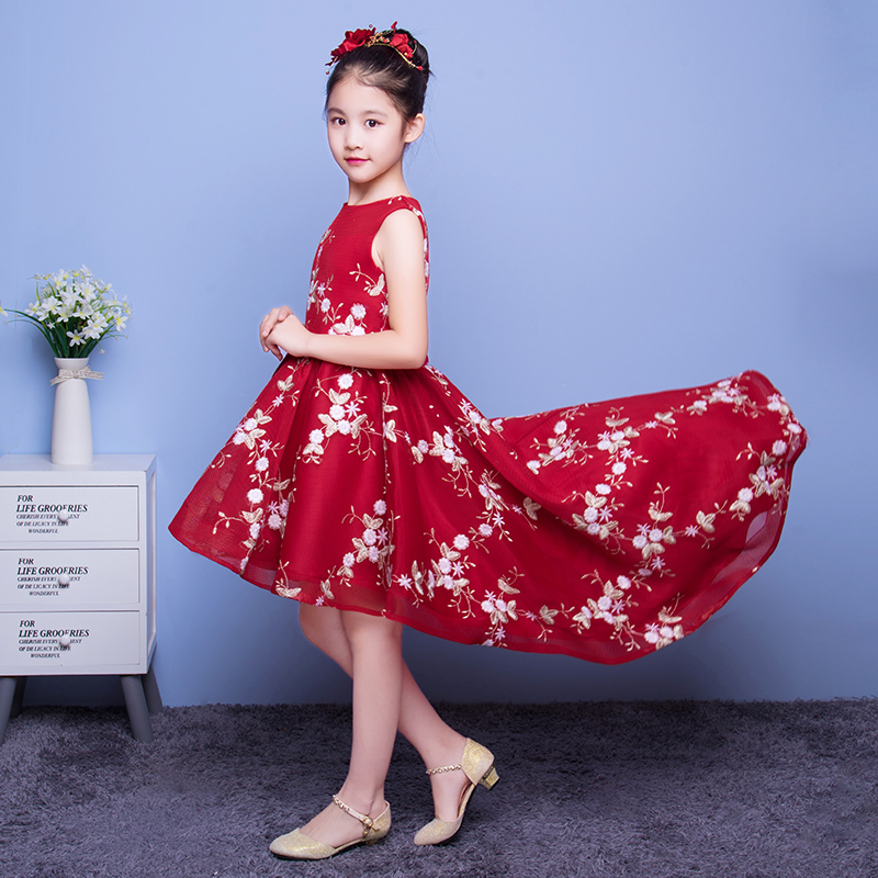 Mesh Princess Dress Printing Girl's Party Dress Ball Gown Short Front Long Back Kids Pageant Gown First Communion Dresses E289 сиденье крышка для унитаза violet кораллы