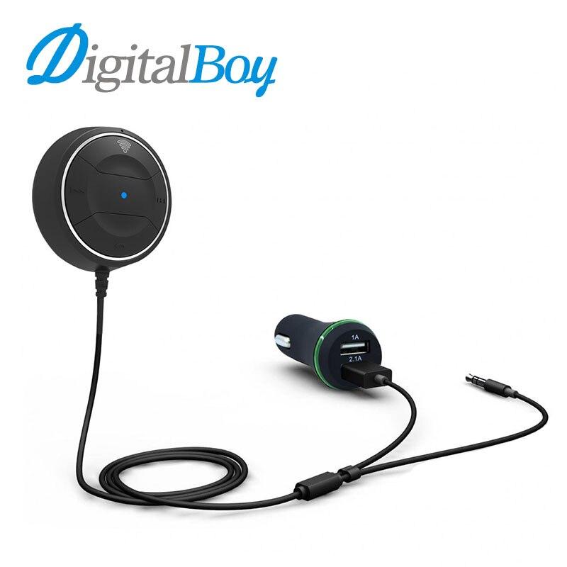 Digitalboy <font><b>Bluetooth</b></font> Hands-Free 3.5 мм AUX Приемник Адаптер <font><b>Bluetooth</b></font> Автомобильный Комплект Аудио Музыки с USB Автомобильное Зарядное Устройство для iphone Samsung