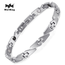 WelMag Women Magnetic Bracelets & Bangles Health Care Elements Negative ions germanium Far infrared magnetic Hologram Bracelets stainless steel hologram bracelet germanium balance energy care magnetic power health bracelets bangles
