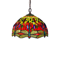 Luxury Stained Glass Flower Dragonfly Bedroom Salon Living Drawing Dining Room Hanging Lamp Pendant Light Decorative Lighting