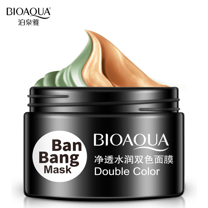 BIOAQUA Brand Double Colors Mud Mask Facial Skin Care Deep Pore Clean And Nourish Double Effect Moisturizer Clay Treatment Mask маска matis clay mask balancing and purifying mask объем 50 мл