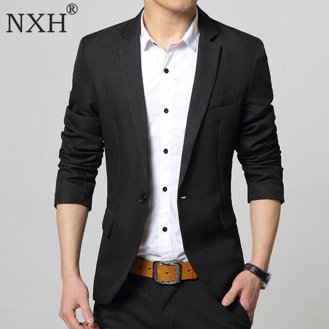 d1b51617e € 23.24 43% de DESCUENTO|NXH 2018 nueva moda Casual hombres Blazer algodón  Delgado Corea estilo traje Blaser Masculino trajes chaqueta Blazer ...