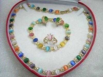 Jolie multicolore opale collier Bracelet bague de boucles d'oreilles > AAA 18 K GP plaqué or de mariée large montre ailes reine JEWE