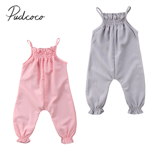 e7e4d6468932 2018 Brand New Cute Toddler Infant Newborn Baby Girls Clothes Strap Romper  Jumpsuit Playsuit Overall Sleeveless Summer Sunsuit