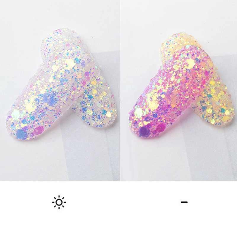 Paznokci cekiny Ultra cienka syrenka płatki sześciokątne kawałek mieszane pudry brokatowe 3d musujące ozdoby do paznokci
