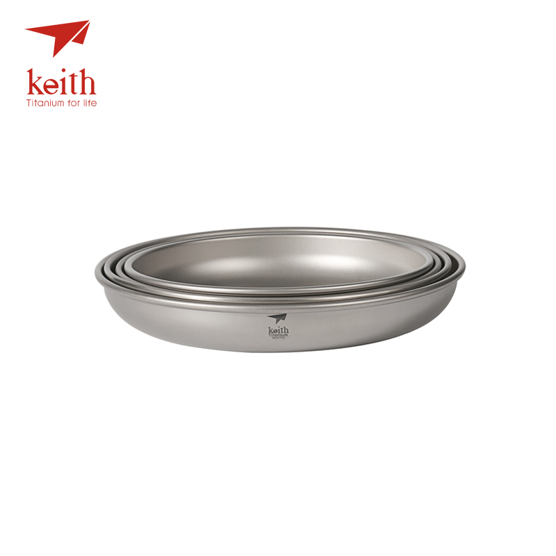 Keith Titanium 4 Pcs In 1 Saucer Dishes Set Outdoor Tableware Camping Hiking Plates Cutlery Picnic 300ml-450ml 4 in 1 stainless steel foldable camping cutlery