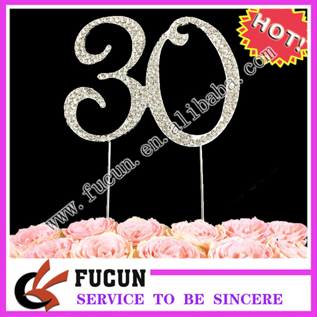 Bling Cake Decoration Rhinestone Crystal Cake Topper For 30th