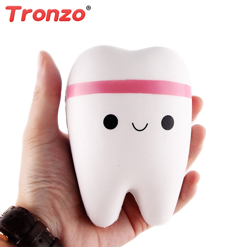 Tronzo Kawaii Squishy Toys Jumbo Soft Teeth Stretchable Stress Relief Squishy Slow Rising Novelty Toy Gift For Kid Wholesale