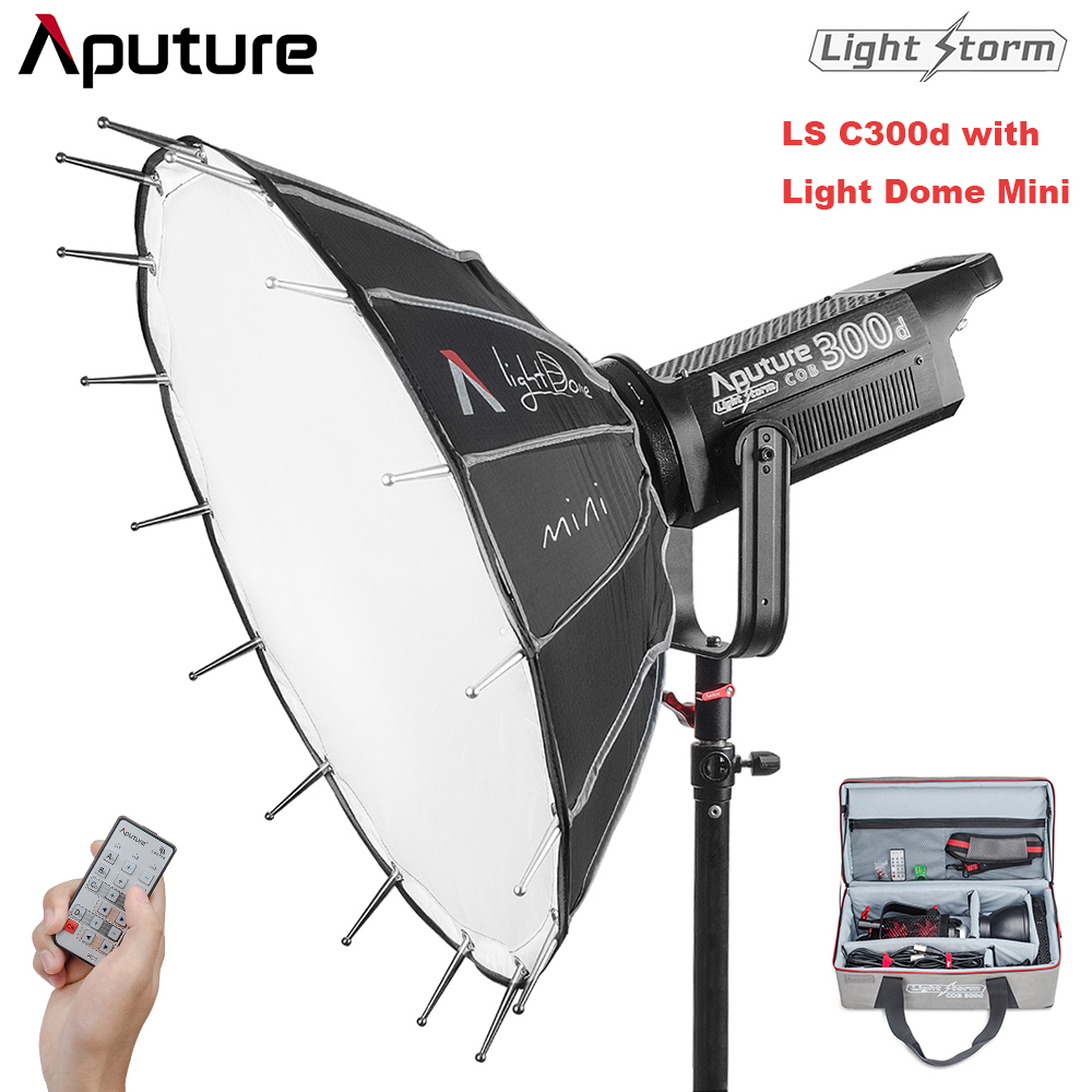 Aputure LS C300d 300W 5500K CRI95+ TLCI96+ 48000LUX@0.5m Filming Light for Filmmakers with 2.4G Remote & Aputure Light Dome Mini aputure ls c300d cri 95 tlci 96 48000 lux 0 5m color temperature 5500k for filmmakers 2 4g remote aputure light dome mini
