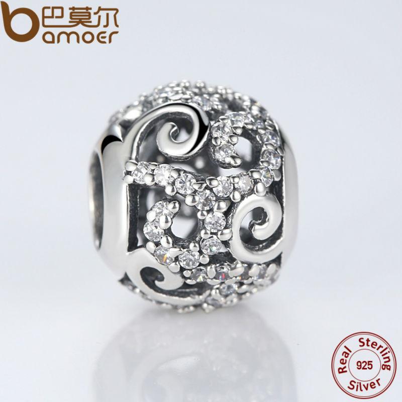 BAMOER Brand Hotsale 925 Sterling Silver Crystal Round Charms Passar - Märkessmycken - Foto 2