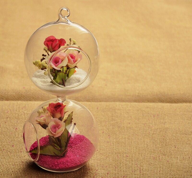 New Double Transparent Spherical Vase Glass Creative Flower Pot