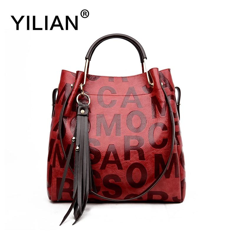 Yilian Мода Письмо Для женщин сумки большой из искусственной кожи Сумки большой Ёмкость сумки классический красный сумка женская сумка 3208