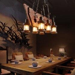 Retro industrialna lampa wisząca 6 głowy stare łodzi drewna światło amerykański kraj stylu Edison żarówka darmowa wysyłka