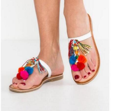 7f48ea60378 US $78.0 |2017 newest flower pom pom sandal colorful strings fringed flip  flops summer sexy slides hot selling leather shoes flat sandal -in Women's  ...
