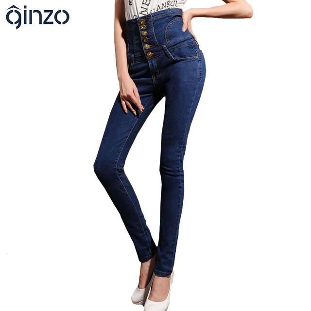De las mujeres de cintura alta pantalones vaqueros flacos elásticos lápiz pantalones de mezclilla Plus de gran tamaño botones pantalones largos