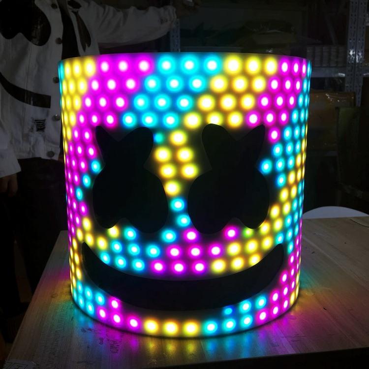 LED Acrylic Helmet 28cm 45 Styles LED DJ Mask Marshmello Helmet Marshmello DJ Mask Face Hat Music Fans Concert Props