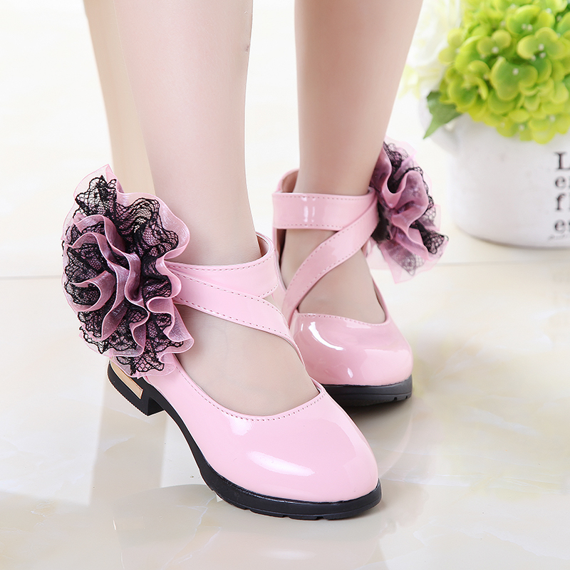 2018 Spring Children Kids Shoes Girls Shoes Girl Leather Shoes Kids Princess Gladiator Roman Fashion Flower Shoes Big Size 27-37
