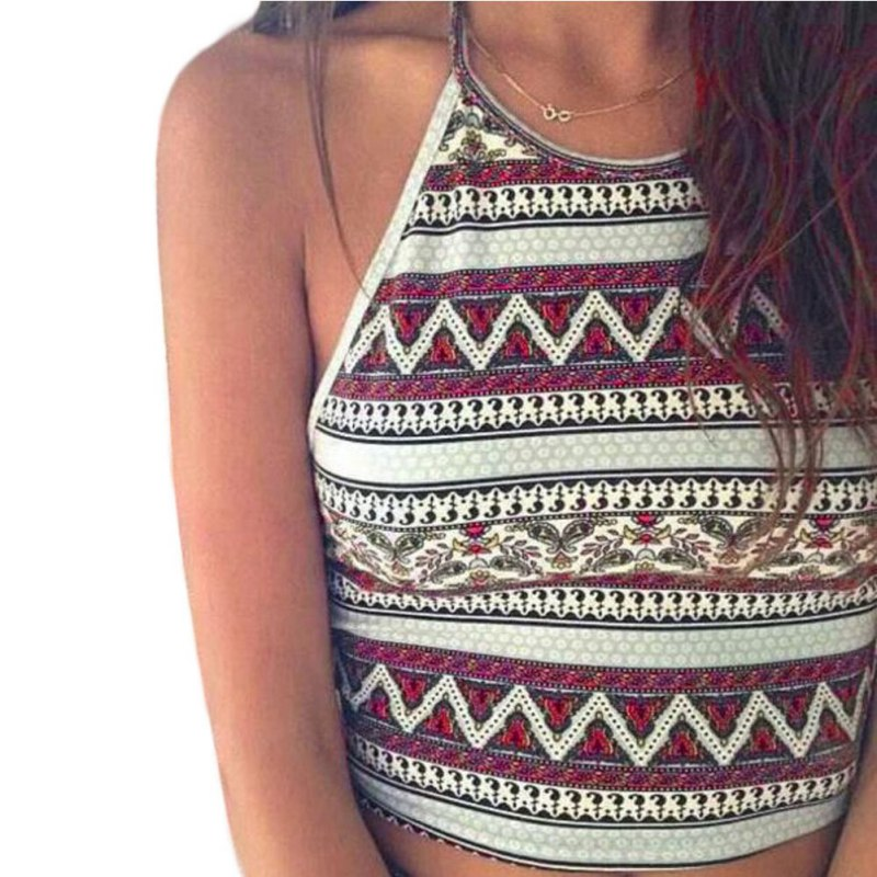 Summer Fashion Halter  Women Crop Tops Geometric Print Camis Cropped Camisole Sexy Black Backless Strap Cotton Short Crop Top