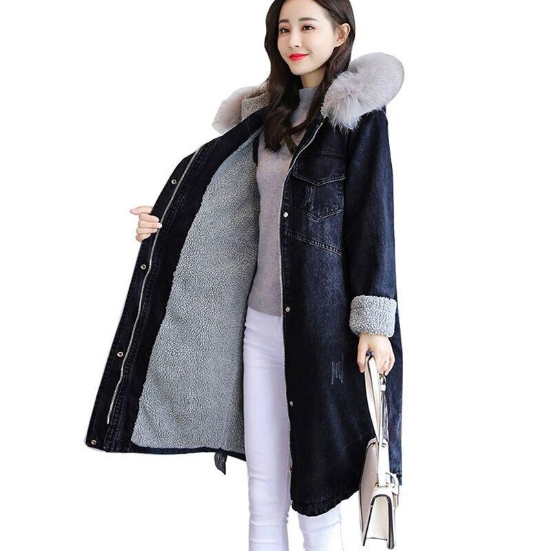 Hiver Denim veste pour femmes à capuche épais agneaux laine longues vestes femmes manteau style coréen grande taille 3XL mode coton manteau
