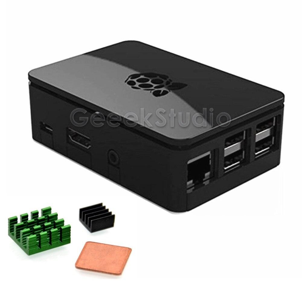 ABS Black / Transparent Case Enclosure Shell Box With Heatsinks For Raspberry Pi 3B / 2B, NOT For Raspberry Pi 3B+