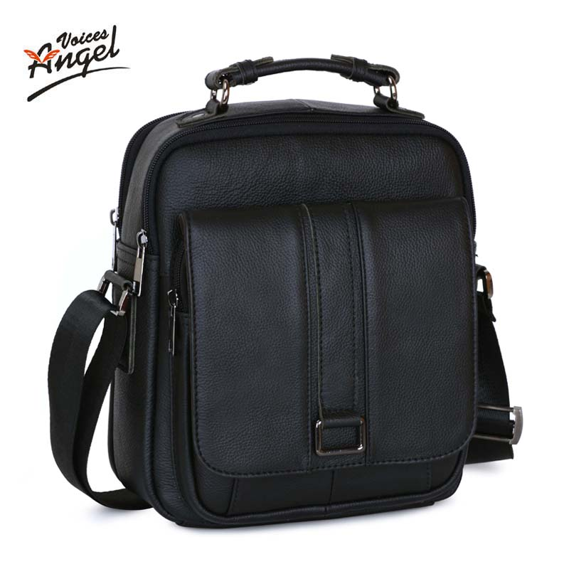 Angel Voices Business Men Genuine Leather Bag Natural Cowskin Men Messenger Bags Vintage Men's Cowhide Shoulder Crossbody Bag steve cockram 5 voices