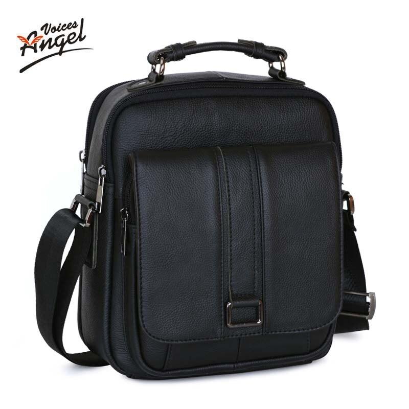 Angel Voices Business Men Genuine Leather Bag Natural Cowskin Men Messenger Bags Vintage Men's Cowhide Shoulder Crossbody Bag