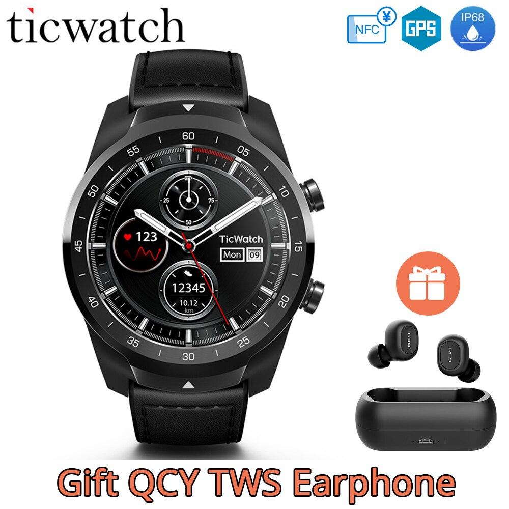 Fone de Ouvido De presente Original Ticwatch Pro Google Pay Assistente Google GPS Assistir Homens Relógio Inteligente NFC IP68 Exibição Em Camadas Longa Espera