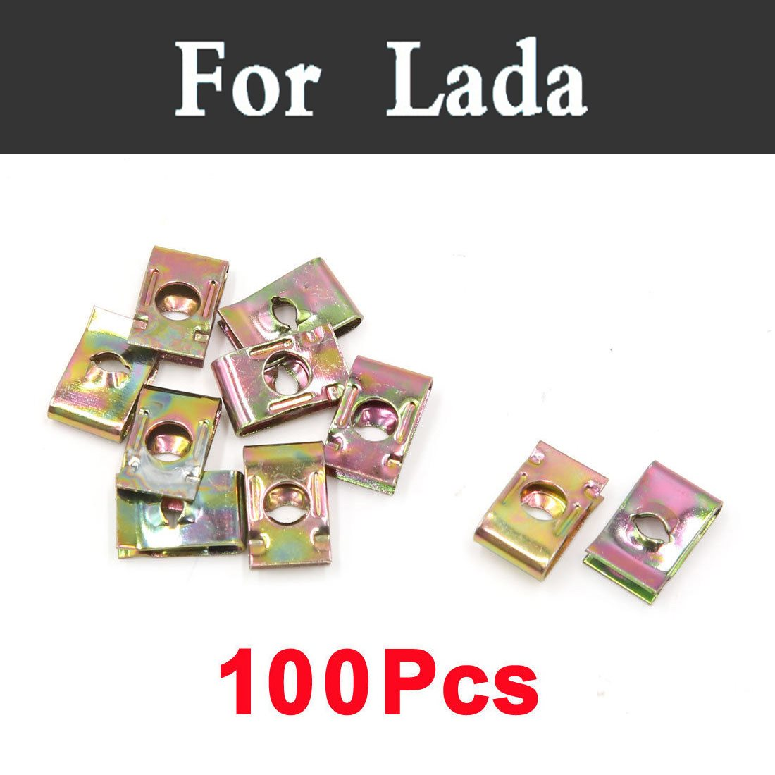 100pcs Bronze Tone Car Styling Door Panel Screw U-Type Fastener Clips For Lada Oka 2105 2106 2107 2109 2110 2112 <font><b>2113</b></font> 2114 2115 image
