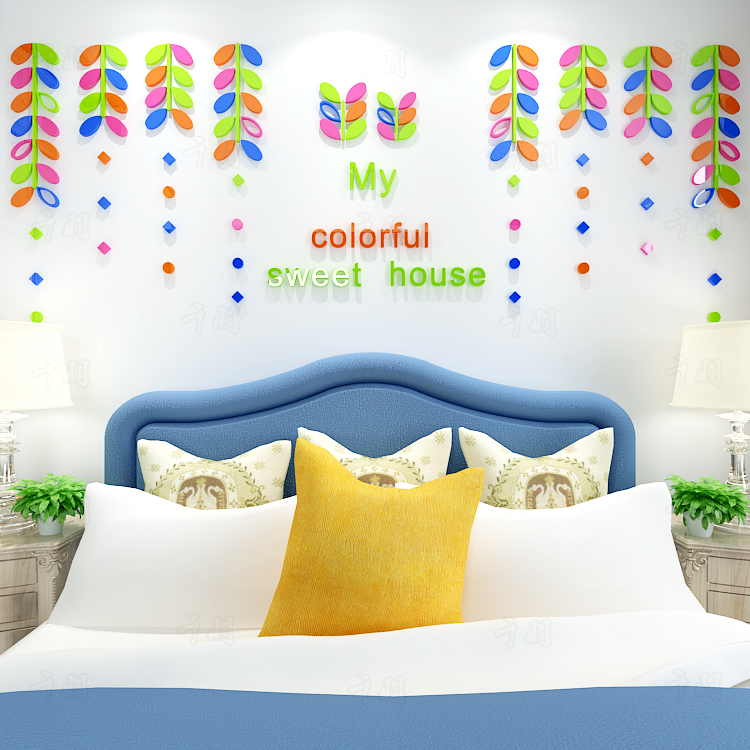 Colored leaves Creative door stickers, 3D acrylic wall stickers Refrigerator stick - 2