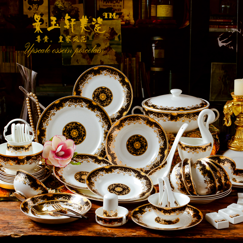 60pieces European Court dinnerware sets luxury for Jingdezhen high-grade bone china bowl