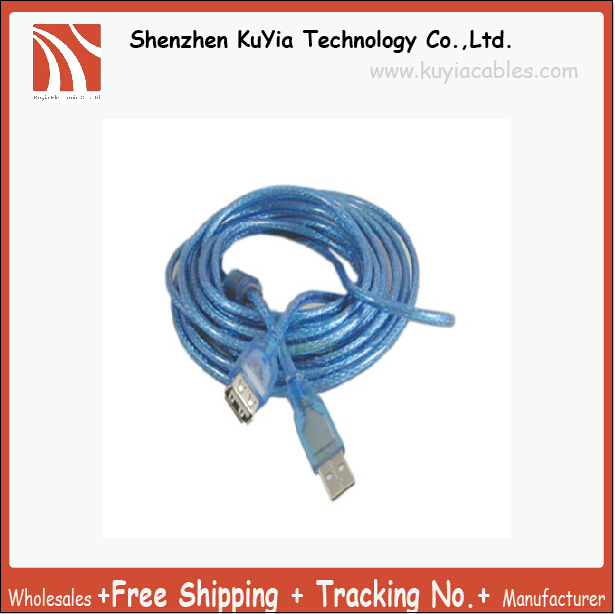 KUYiA Tracking number+Free Shipping! 2pcs/lot USB CableA Male to A Female USB Extension Cable 10M 30ft Blue