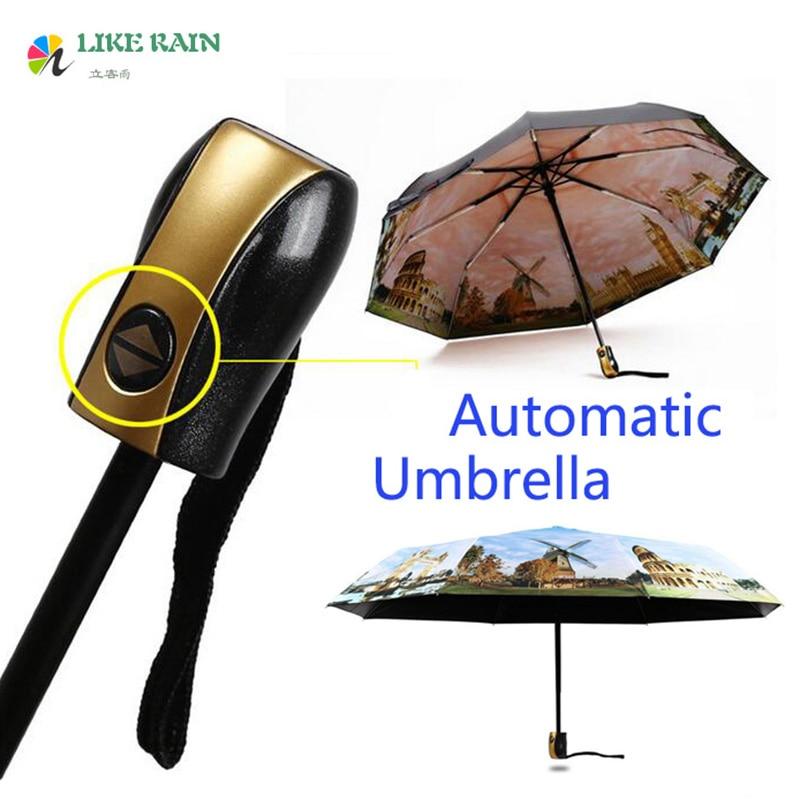 비가처럼 새로운 유명 브랜드 자동 남자 우산 패션 페인팅 파라솔 비치 우산 태양 비 우산 UBY05
