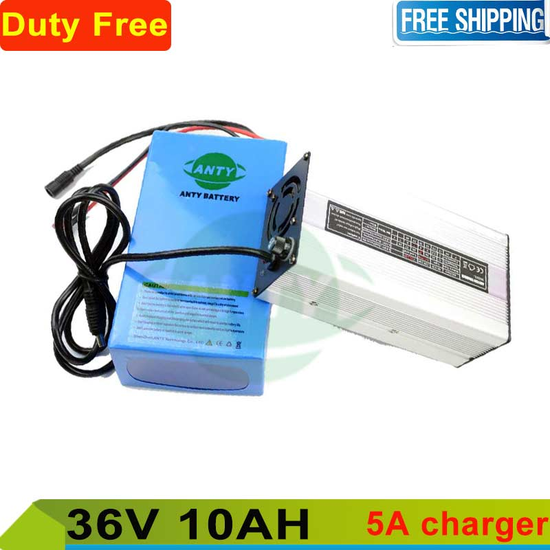 Duty and shipping free ebike battery 36v 10ah 500w lithium battery 36v with 42v 5A charger