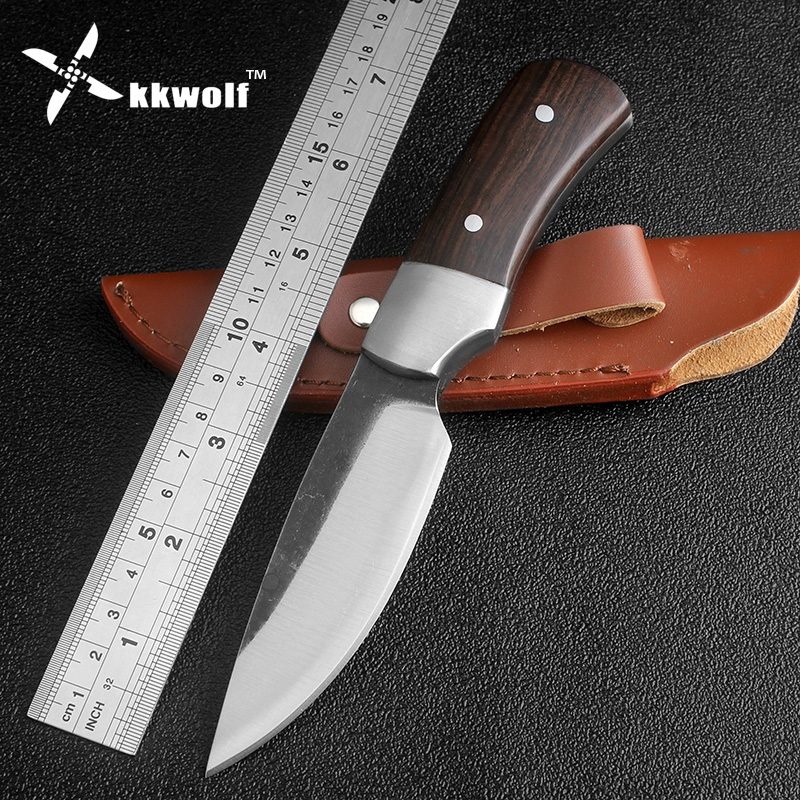 KKWOLF Hard Tough High carbon steel Fixed Blade Hunting Knife Outdoor Survival Knives& Sheath For Hiking Hot Sale hand forged farm hand forged spring steel sickle king chai sickle weeding knife grinding the blade free firewood