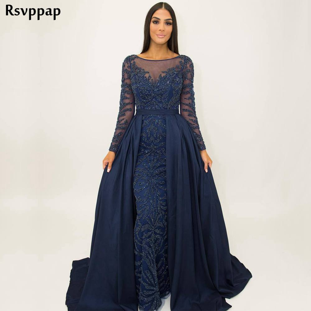 458b12a23e ANGEL NOVIAS New Arrival Real Long Sleeve Abendkleider A Line Navy ...