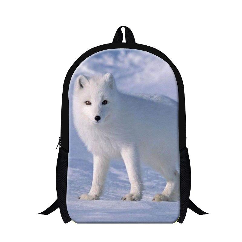 dc8c095673ed4 Dispalang tilki hayvan 3d baskı gençler için okul çantası kız sırt çantası  çocuk sırt çantası 16 inç mens seyahat çift omuz çantaları
