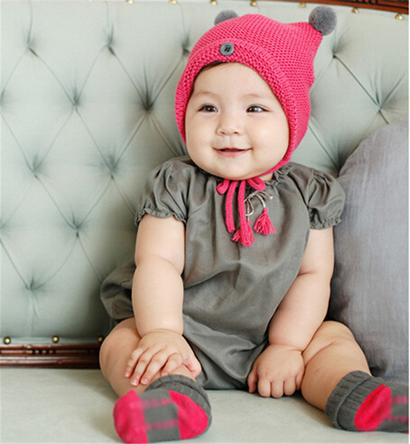 ₩Nuevo Bebé sombrero hecho punto los cabritos Niños Niñas sombrero ...