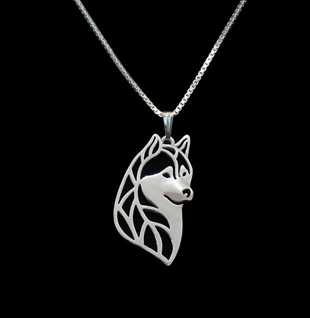 Gold & silver 1pcs Siberian Husky Head Necklace 3D Cut Out Puppy Dog Lover Pendant Memorial Necklaces  Pendants Christmas Gift