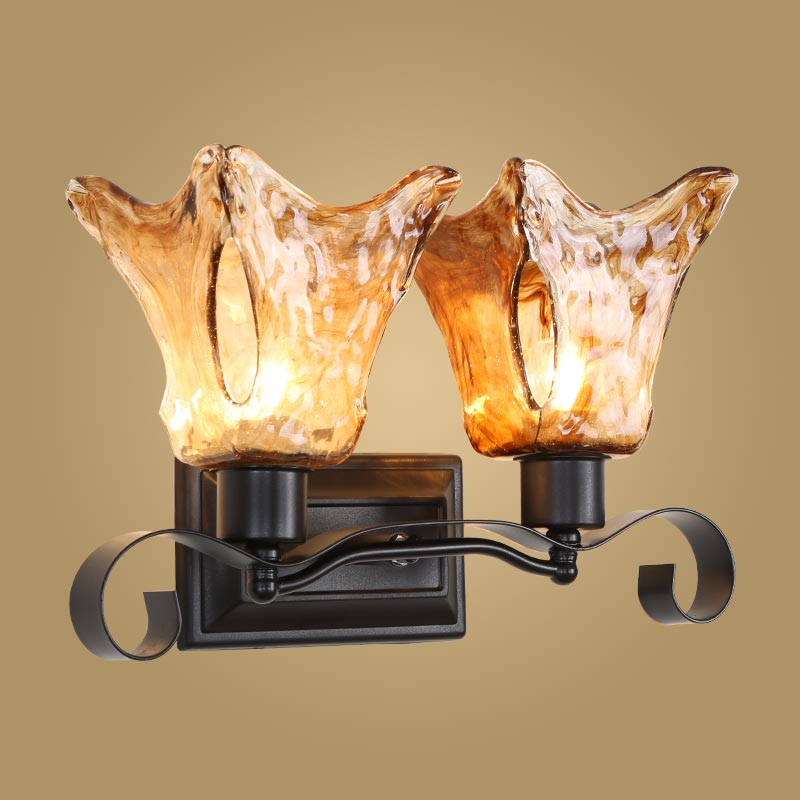 Modern Wall Lamp Bedroom Bathroom Mirror Cabinet Fixture American Style Glass Lampshade Wall Sconces BLW9007 modern wall lamp glass ball led wall sconces bedside wall light fixture bedroom luminaria home lighting vintage lamp
